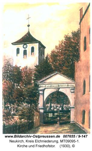 Neukirch, Kirche und Friedhofstor