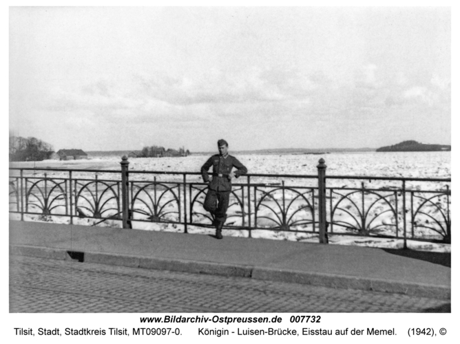 Tilsit, Königin-Luise-Brücke, Eisstau auf der Memel
