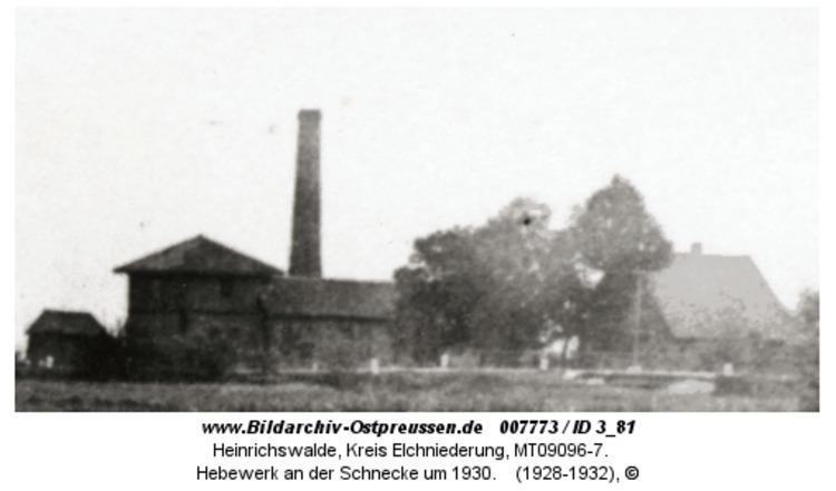 Heinrichswalde, Hebewerk an der Schnecke um 1930