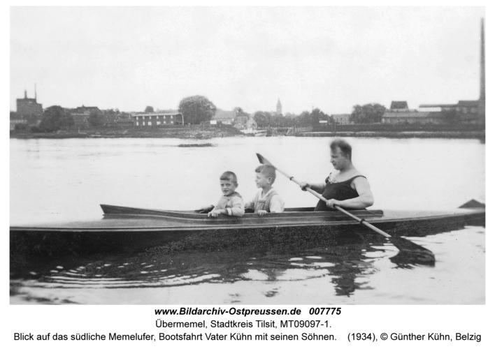Tilsit-Übermemel, Blick auf das südliche Memelufer, Bootsfahrt Vater Kühn mit seinen Söhnen