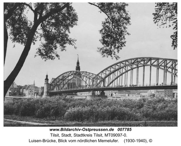 Tilsit, Luisen-Brücke, Blick vom nördlichen Memelufer