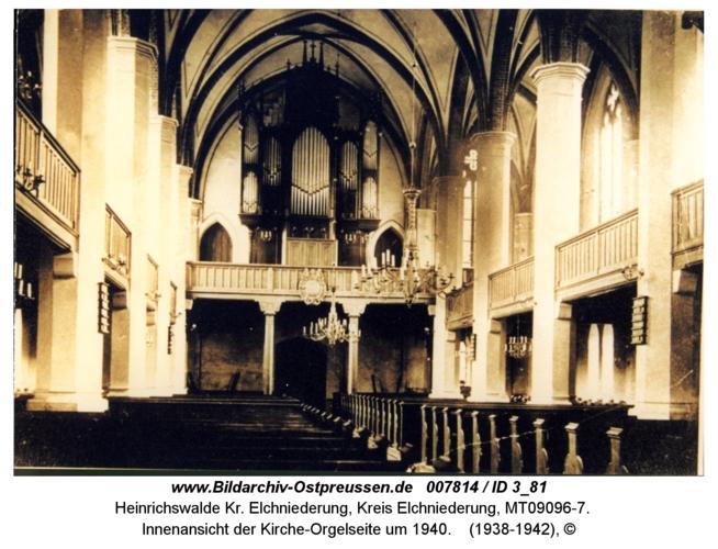 Heinrichswalde, Innenansicht der Kirche-Orgelseite um 1940