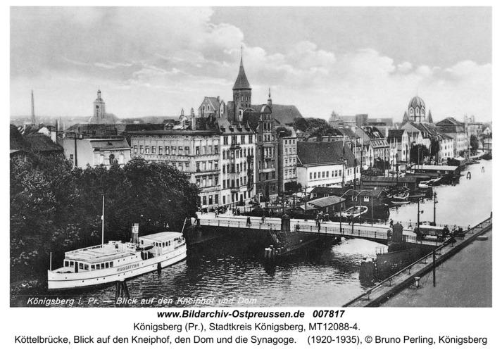 Königsberg, Köttelbrücke, Blick auf den Kneiphof, den Dom und die Synagoge