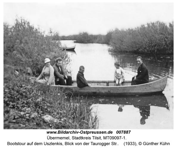 Tilsit Übermemel, Bootstour auf dem Uszlenkis, Blick von der Taurogger Str.