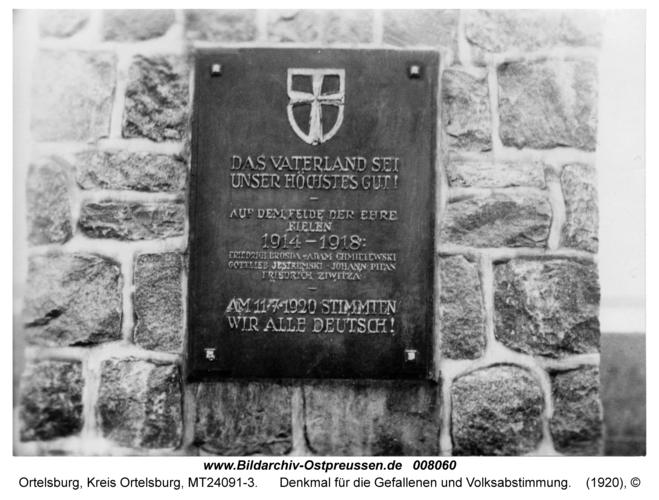 Paterschobensee, Denkmal für die Gefallenen und Volksabstimmung