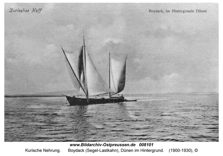Kurische Nehrung, Boydack (Segel-Lastkahn), Dünen im Hintergrund