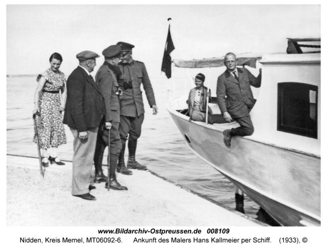 Nidden, Ankunft des Malers Hans Kallmeier per Schiff