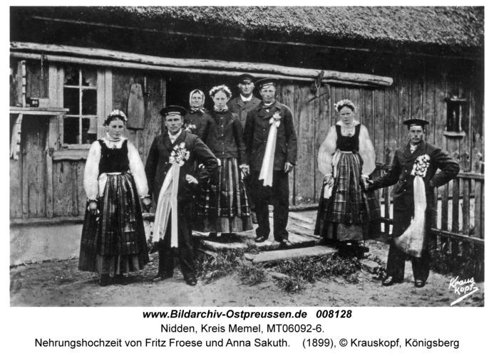 Nidden, Nehrungshochzeit von Fritz Froese und Anna Sakuth