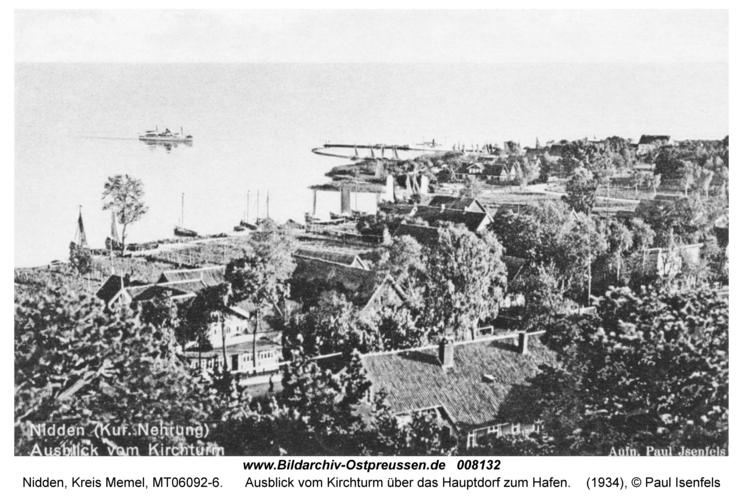 Nidden, Ausblick vom Kirchturm über das Hauptdorf zum Hafen