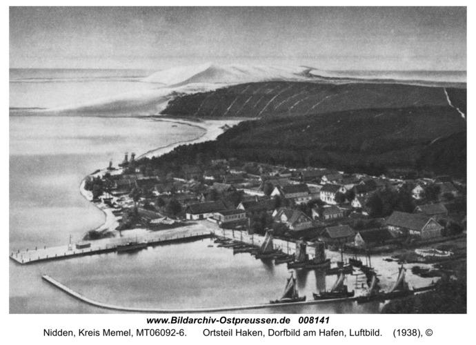 Nidden, Ortsteil Haken, Dorfbild am Hafen, Luftbild