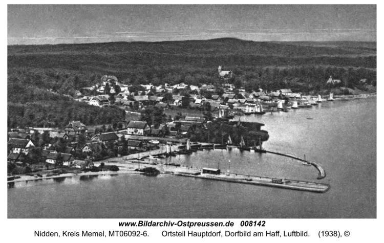 Nidden, Ortsteil Hauptdorf, Dorfbild am Haff, Luftbild