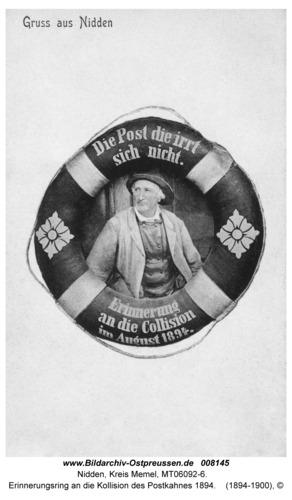 Nidden, Erinnerungsring an die Kollision des Postkahnes 1894