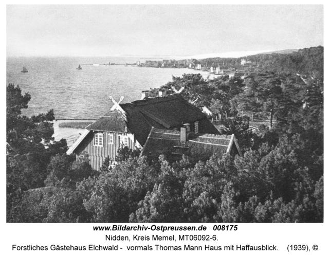 Nidden, Forstliches Gästehaus Elchwald - vormals Thomas Mann Haus mit Haffausblick