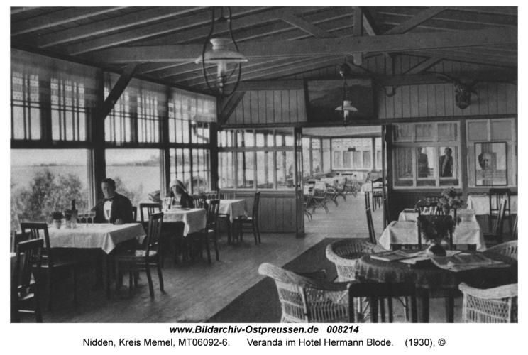 Nidden, Veranda im Hotel Hermann Blode