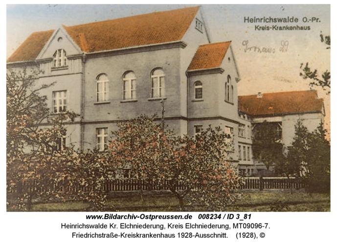 Heinrichswalde, Friedrichstraße, Kreiskrankenhaus 1928-Ausschnitt