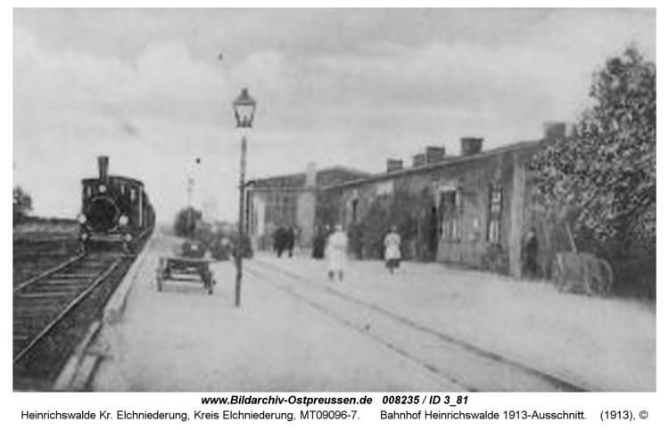 Heinrichswalde, Bahnhof Heinrichswalde 1913-Ausschnitt