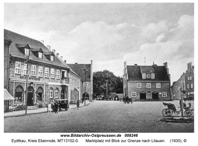 Eydtkau, Marktplatz mit Blick zur Grenze nach Litauen
