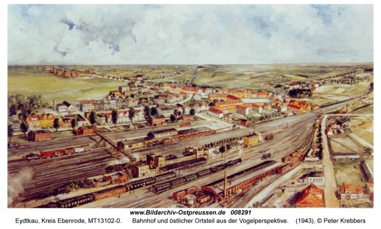 Eydtkau, Bahnhof und östlicher Ortsteil aus der Vogelperspektive