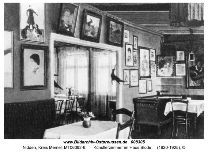 Nidden, Künstlerzimmer im Haus Blode