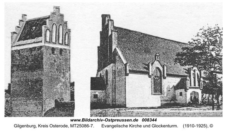 Gilgenburg, Evangelische Kirche und Glockenturm