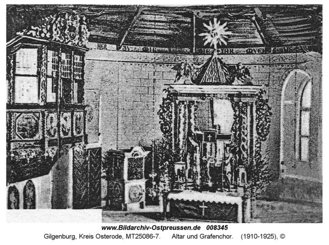 Gilgenburg, Altar und Grafenchor