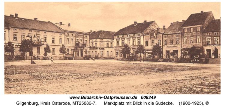 Gilgenburg, Marktplatz mit Blick in die Südecke