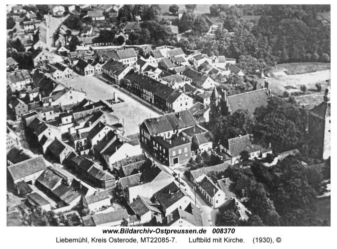 Liebemühl, Luftbild mit Kirche