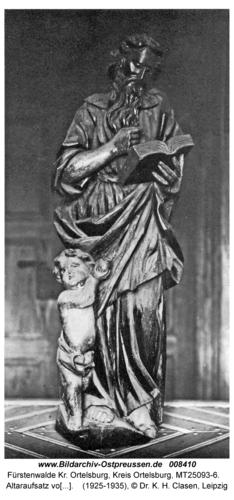 Fürstenwalde, Altaraufsatz von Anf. des 18. Jhdt., Evang. Matthäus