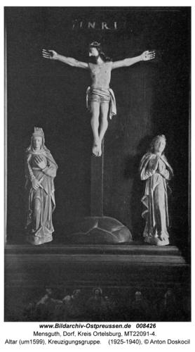 Mensguth, Altar (um 1599), Kreuzigungsgruppe