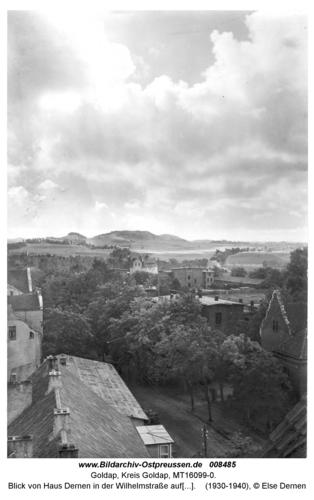 Goldap, Blick von Haus Dernen in der Wilhelmstraße auf den Goldaper Berg
