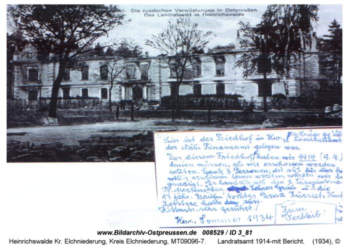 Heinrichswalde, Landratsamt 1914-mit Bericht