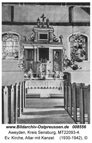 Aweyden, Ev. Kirche, Altar mit Kanzel