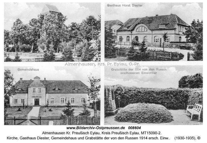 Almenhausen, Kirche, Gasthaus Diester, Gemeindehaus und Grabstätte der von den Russen 1914 ersch. Einw.