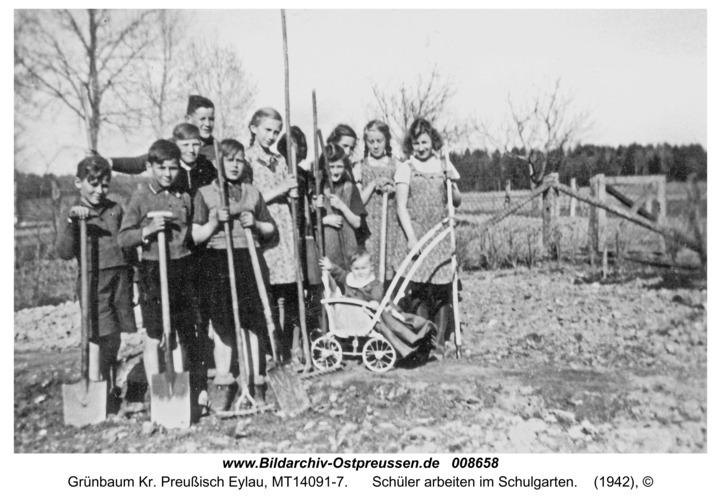 Grünbaum Kr. Preußisch Eylau, Schüler arbeiten im Schulgarten