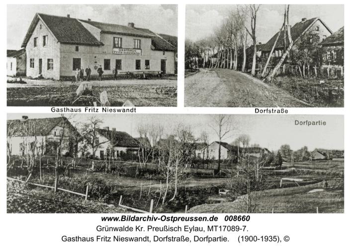 Grünwalde, Gasthaus Fritz Nieswandt, Dorfstraße, Dorfpartie