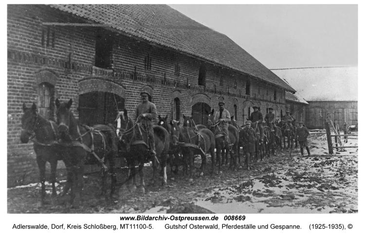 Adlerswalde, Gutshof Osterwald, Pferdeställe und Gespanne
