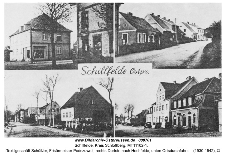 Schillfelde, Textilgeschäft Schüßler, Frisörmeister Podszuweit, rechts Dorfstr. nach Hochfelde, unten Ortsdurchfahrt