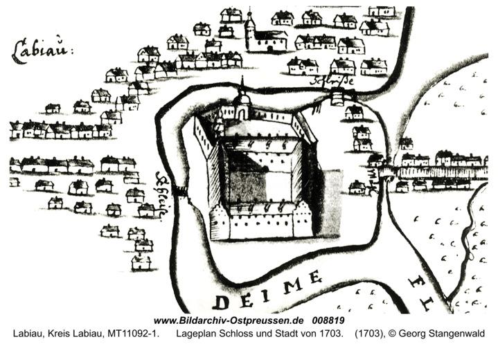Labiau, Lageplan Schloss und Stadt von 1703