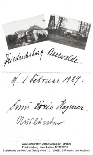 Friedrichsburg, Speisekarte der Hochzeit Georg v.Knobloch