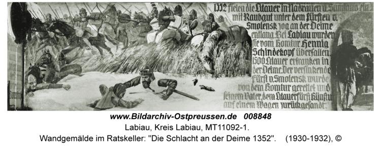 """Labiau, Wandgemälde im Ratskeller: """"Die Schlacht an der Deime 1352"""""""