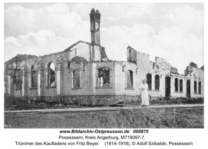 Großgarten, Trümmer des Kaufladens von Fritz Beyer