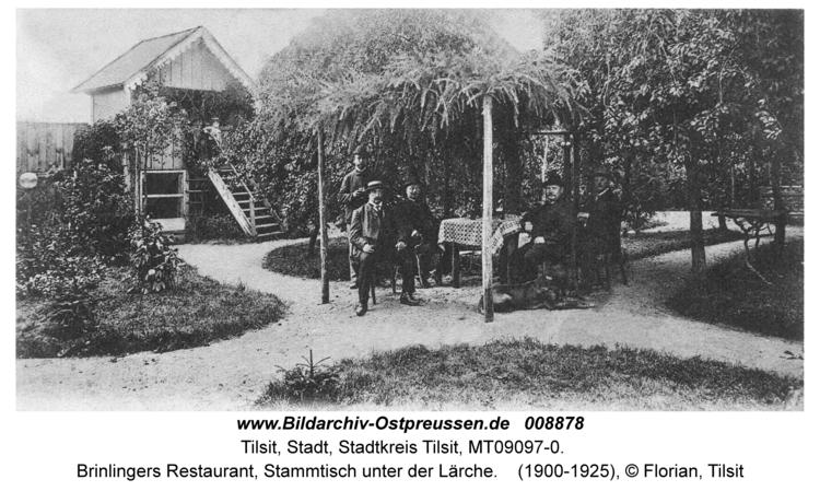 Tilsit, Brinlingers Restaurant, Stammtisch unter der Lärche