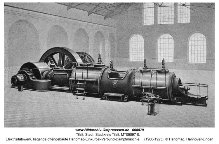Tilsit, Elektrizitätswerk, liegende offengebaute Hanomag-Einkurbel-Verbund-Dampfmaschie