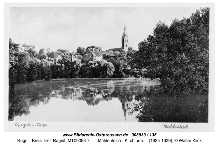 Ragnit, Mühlenteich - Kirchturm