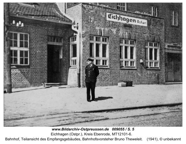 Eichhagen, Bahnhof, Teilansicht des Empfangsgebäudes, Bahnhofsvorsteher Bruno Theweleit