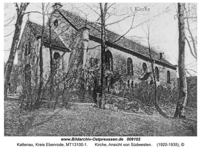 Kattenau, Kirche, Ansicht von Südwesten