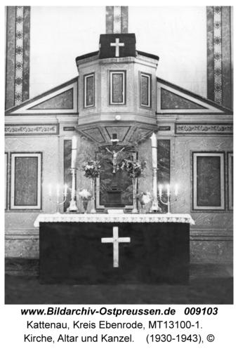 Kattenau, Kirche, Altar und Kanzel
