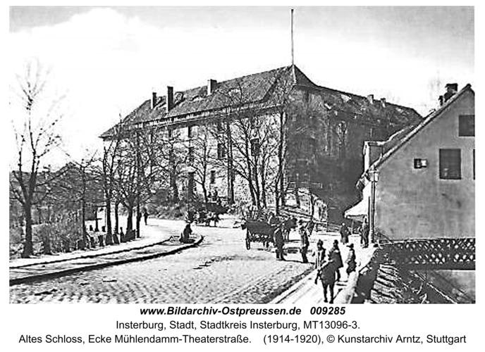 Insterburg, Altes Schloss, Ecke Mühlendamm-Theaterstraße