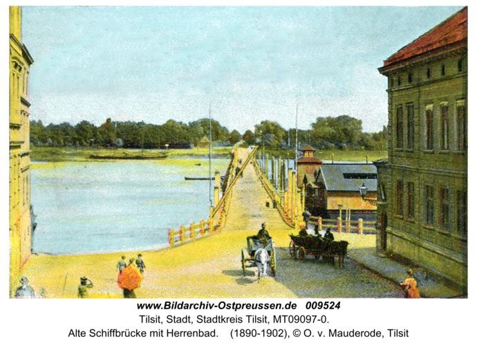 Tilsit, Alte Schiffbrücke mit Herrenbad