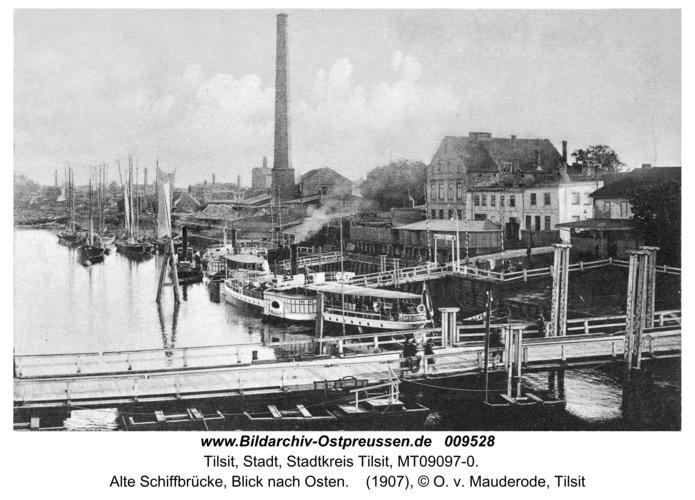 Tilsit, Alte Schiffbrücke, Blick nach Osten